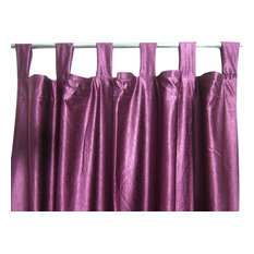 Mogul Interior - Consigned Purple Tab Top Sari Curtain / Drape / Panel - Curtains