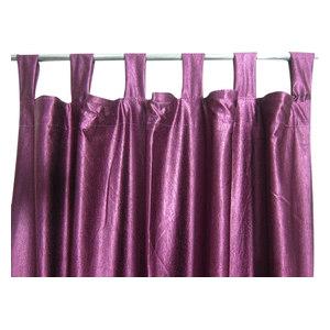Mogul Interior - Consigned Purple Tab Top Sari Curtain / Drape / Panel - Curtains