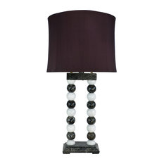 """29"""" Tall Marble Table Lamp """"Marvin"""", Taupe Gray & Espresso"""