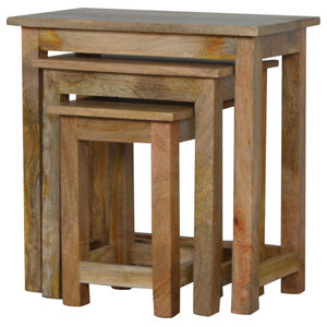 Mango Wood Nesting Table Stools, 3 Piece Set
