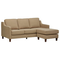Modern Sectional Sofa, Hardwood Frame With Polyester Upholstery, Beige