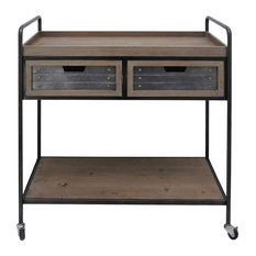 Rustic Kitchen Cart 2 Smooth Drawers And Open Shelf Brown And Black