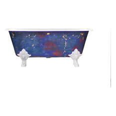 New Square Cast Iron Clawfoot Bathtub Antiqued Lagniappe Freestanding Degas Blue
