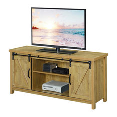 Convenience Concepts Blake Barn Door TV Stand In Light Oak Wood Finish