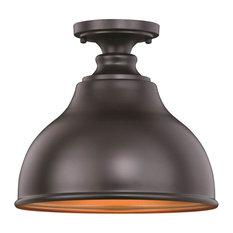 "Vaxcel - Vaxcel Delano 11"" Semi Flush Mount, Oil Burnished Bronze With Inner Light Gold - Outdoor Flush-mount Ceiling Lighting"