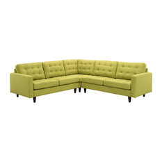Modway   Empress 3 Piece Upholstered Fabric Sectional Sofa Set, Wheatgrass    Sectional Sofas