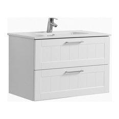 Barolo Bathroom Vanity Unit, Matte White, 80 cm