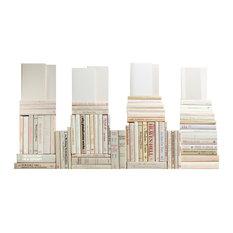 Decorative Books, Modern Neutral Book Wall, Set of 75
