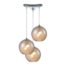 Watersphere 3-Light Champagne Pendant, Polished Chrome