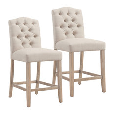 Button Tufted Fabric Counter Stool, Set of 2, Beige