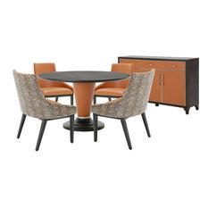 AICO 21 Cosmopolitan 6-Piece 54-inch Top Round Diningroom Set Orange