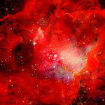 """Petra Gerber / Artist / Professor - Lagoon Nebula Painting - One of a series of original watercolor paintings of the """"Universe"""".  All selected pigments are permanent.  In addition, acrylic framing material prevents ultraviolet rays from fading any part of the art work.  Painting is 30"""" x 40"""" in size, lightweight and ready for hanging."""