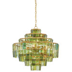 Currey & Company, Inc. - Sommelier Chandelier - The distinctive green hues of the recyled wine bottles used to make the Sommelier Chandelier mean that each is one of a kind. Natural uneven textures on the hanging glass pieces are accentuated by the piece's Dark Contemporary Golf Leaf finish.