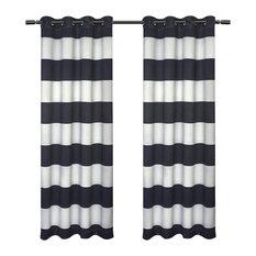 """Kids Rugby Stripe Sateen Darkening Grommet Curtain Panel Pair, Navy, 54"""" X 84"""""""