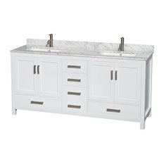 """Sheffield 72"""" Double Vanity, White Carrera Marble Top, Undermount Square Sink"""