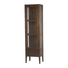 87 Tall Irmina Cabinet Multiple Shelves Drawers Beneath Wood Brown