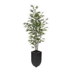 Artificial Black Bamboo Tree in Black Zinc