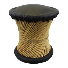 Natural Geo Moray Faux Leather/Reed Decorative Cushioned Accent Stool, Black