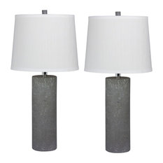 "26"" Contemporary Column Ceramic Table Lamp, Set Of 2, Gray"