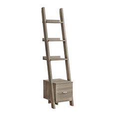 69-inch Bookcase Dark Taupe Ladder W/ Storage Drawer