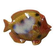 Ceramic Multi-color Yellow Tropical Fish Decor Display cs2584