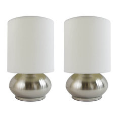 Simple Designs Mini Touch Lamps With Silver Metal Base and Ivory Shade, Set of 2
