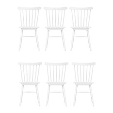 Wood Kitchen Dining Chair, White, Set of 6