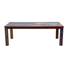 Teak Wood Dining Table Made From Recycled Teak Wood Boats, 71 X 43 Inches