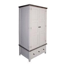 Wellington Rustic 2-Door Wardrobe, Cotton White