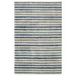 Mohawk - Boardwalk Stripe Blue Rug, 8'x10' - Cast in a cool palette of watery blues, aqua and grey, the Boardwalk Stripe is reminiscent of the carefree vibes waterfront vacations are made of. This woven wonder is consciously created with our exclusive Everstrand fiber, made with up to 100% recycled post-consumer content from plastic bottles. Offering thick, plush softness and our superior stain resistance, the Boardwalk Stripe is a smart selection for kids' spaces or anywhere life tends to get a little messy! Available in blue.
