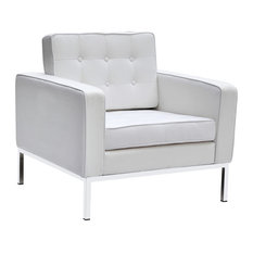Fine Mod Imports Button Wool Armchair, White