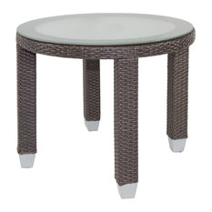 Fiji Round Outdoor End Table With Glass Top, Signature Espresso