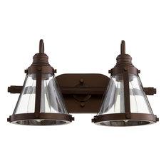 2-Light Banded Cone Vanity Fixture, Oiled Bronze