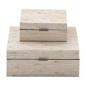 "Set of 2 White Mother of Pearl Coastal Box, 8"", 12"""