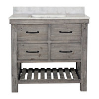 Single Fir Sink Vanity Driftwood With Arctic Pearl Quartz Marble Top, Gray, 36""