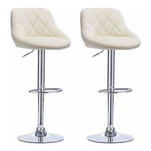 Modern Set of 2 Bar Stools in Faux Leather with Footrest and Adjustable Height