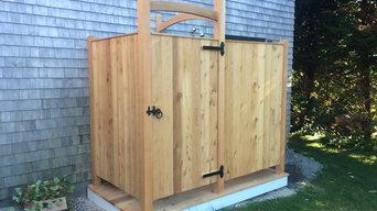 Western Red Cedar outdoor shower with deck platform.