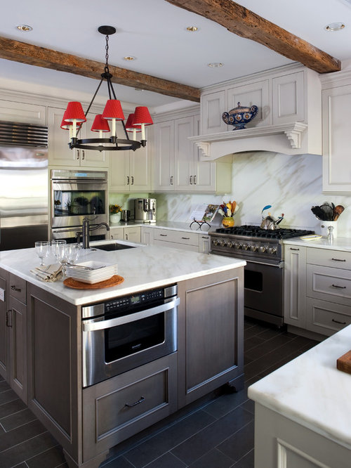 Driftwood cabinets houzz for Grey and white country kitchen