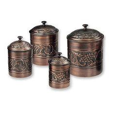 Kitchen Storage Container Set, Antique-Style Copper, 4-Piece Set