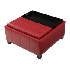 GDF Studio Justin Red Leather Tray Top Storage Ottoman
