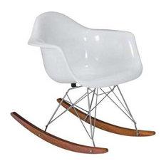 Baha White Fiberglass Rocker Chair