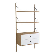Kiju Wall-Mounted Bookcase With Drawers