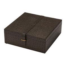 Ambra Leather Storage Box - Dark Brown