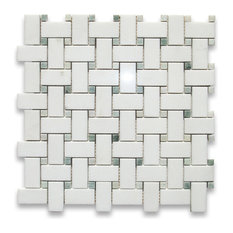 "12""x12"" Thassos White Basketweave Mosaic, Green Dots Polished, Chip Size: 1""x2"""