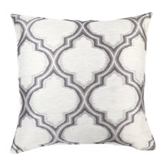 Aria Decorative Feather and Down Throw Pillow, Gray Jacquard Fabric