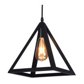 "Raekor 10"" Modern Black Iron Frame Square Pyramid Hanging Mini Pendant Light"