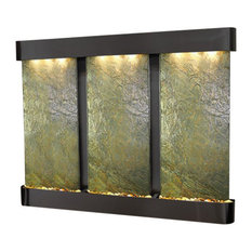 Deep Creek Falls Wall Fountain, Blackened Copper, Green Slate, Round Frame