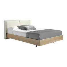 Leatherette Upholstered Oak Bed, Euro King