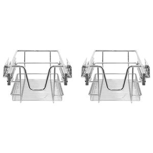 Modern Set of 2 Kitchen Baskets, Stainless Steel Wire Perfect for Space Saving