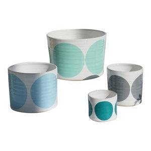 Spots Decorative Jars, Blue Mix, Set of 4